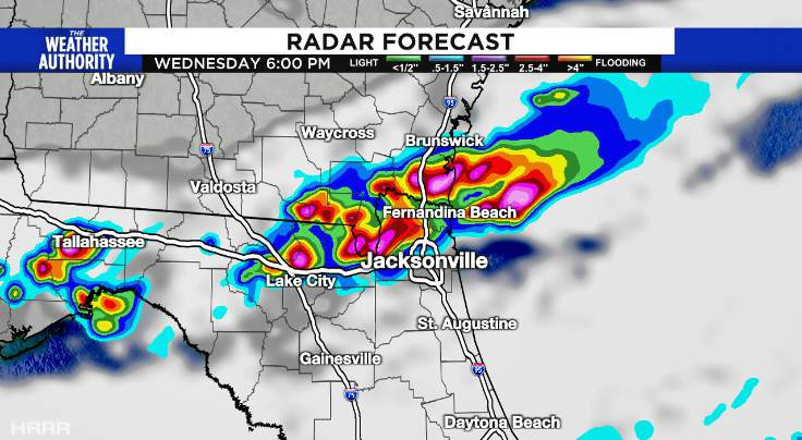 This is a radar forecast and shows some skill at predicting PM storms.  Yes, it looks to be another busy afternoon.