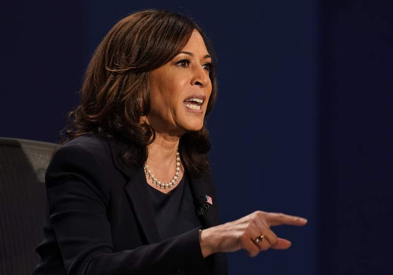 Democratic vice presidential candidate Sen. Kamala Harris, D-Calif., makes a point during the vice presidential debate with Vice President Mike PenceWednesday, Oct. 7, 2020, at Kingsbury Hall on the campus of the University of Utah in Salt Lake City. (AP Photo/Patrick Semansky)