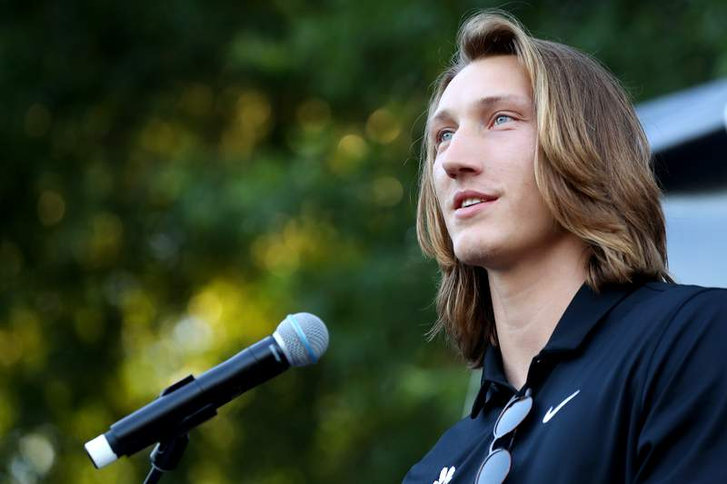 """Clemson University quarterback Trevor Lawrence addresses the crowd following the """"March for Change"""" protest at Bowman Field on June 13, 2020 in Clemson, South Carolina. The protests were in response to the death of George Floyd, an African American, while in the custody of the Minneapolis police. Protests calling for an end to police brutality have spread across cities in the U.S., and in other parts of the world.  (Photo by Maddie Meyer/Getty Images)"""
