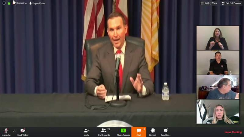 Jacksonville Mayor Lenny Curry holds a virtual press conference to give an update on the city's response to the COVID-19 outbreak.