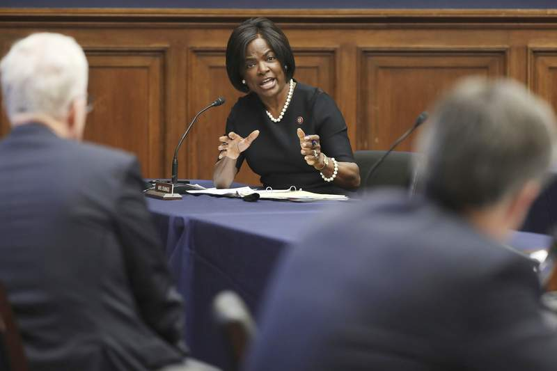 Rep. Val Demings, D-Fla., questions National Counterterrorism Center Director Christopher Miller, left, and Federal Bureau of Investigation Director Christopher Wray, before the House Homeland Security Committee hearing on 'worldwide threats to the homeland', Thursday, Sept. 17, 2020 on Capitol Hill Washington. (Chip Somodevilla/Pool via AP)