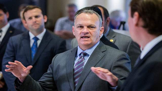 In this Feb. 23, 2018, file photo, Florida Speaker of the House Richard Corcoran speaks at a press conference on school safety at the Capitol in Tallahassee, Fla. Florida Governor-elect, Ron DeSantis, on Thursday, Dec. 5, 2018 nominated Corcoran as the Florida Education Commissioner. (AP Photo/Mark Wallheiser, File)