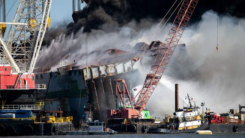 Fire sparked during cutting operations on Golden Ray cargo ship