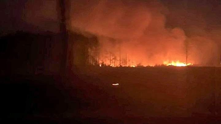 Fire seen from U.S. 1 south of Waycross.