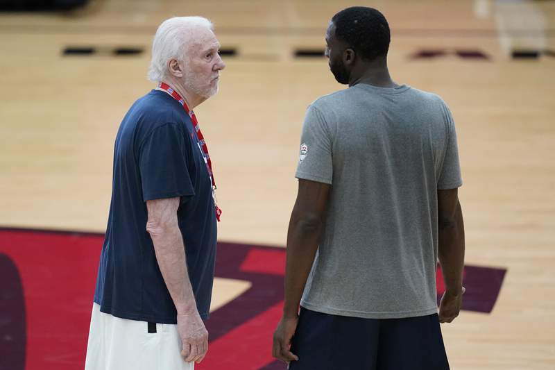 Head coach Gregg Popovich speaks with Draymond Green during practice for USA Basketball, Wednesday, July 7, 2021, in Las Vegas. (AP Photo/John Locher)