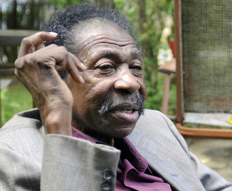 """In this Thursday, May 3, 2018 photo, Bruce Carver Boynton speaks at his home in Selma, Ala. Boynton, a civil rights pioneer from Alabama who inspired the landmark Freedom Rides"""" of 1961, has died. He was 83. Former Alabama state Sen. Hank Sanders, a friend of Boyntons, confirmed his passing Friday, Nov. 20, 2020. (AP Photo/Jay Reeves, file)"""