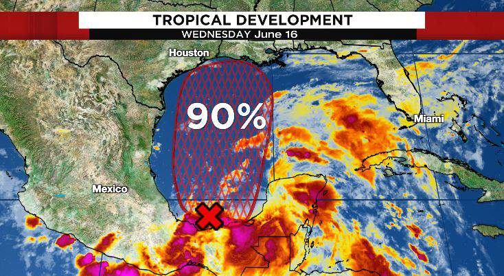 Tropical development in the western Gulf of Mexico is likely either Thursday or Friday.