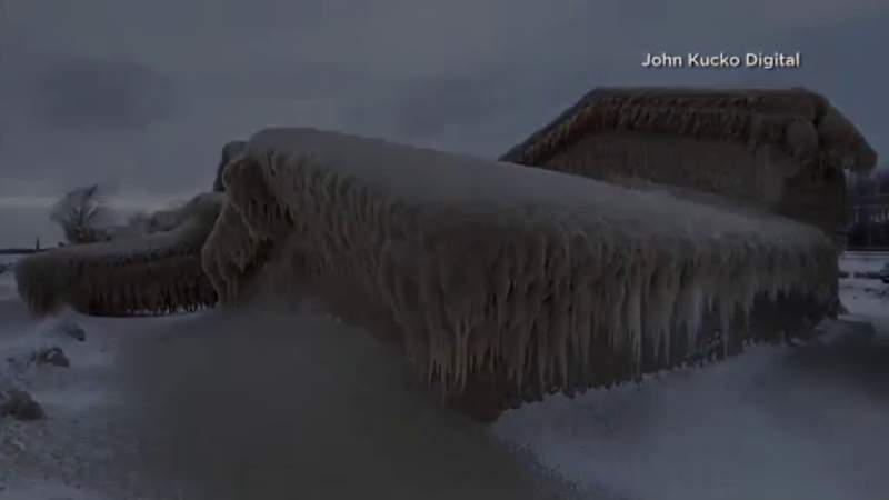 Cool video of homes on Lake Erie completely encased in ice