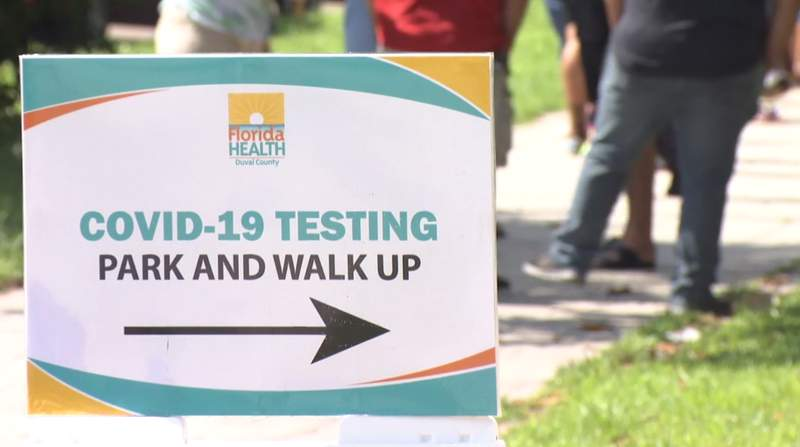 Testing lines were long all week at Florida Health Department's Duval Central Health Plaza in Springfield.