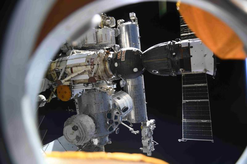 In this photo taken by Russian cosmonaut Oleg Novitsky and provided by Roscosmos Space Agency Press Service, the International Space Station is seen from the Nauka module on Wednesday, Aug. 11, 2021. (Oleg Novitsky/Roscosmos Space Agency Press Service photo via AP)