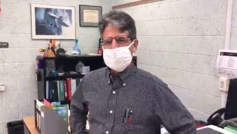 Clay High School teacher Ken Remsen gives a tour of his new classroom set up.