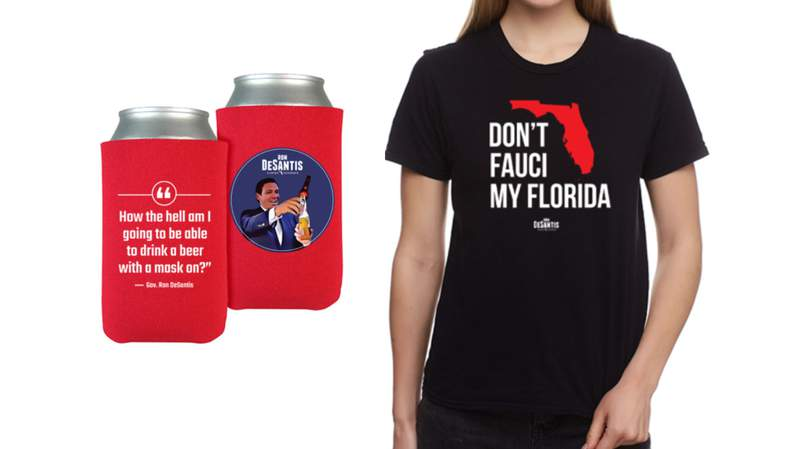 New items for sale on Gov. Ron DeSantis' website appear to attack Dr. Anthony Fauci and mask mandates.