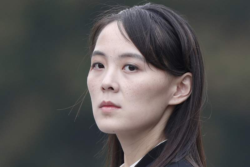 """FILE - In this March 2, 2019, file photo, Kim Yo Jong, sister of North Korean leader Kim Jong Un, attends a wreath-laying ceremony at Ho Chi Minh Mausoleum in Hanoi, Vietnam. In North Korea's first comments directed at the Biden administration, Kim Yo Jong criticized the United States and South Korea for holding military exercises and warned the U.S. against further provocations if it wants a """"good night's sleep for the next four years."""" Her statement was issued on Tuesday, March 16, 2021, as U.S. Secretary of State Antony Blinken and Defense Secretary Lloyd Austin arrived in Asia to talk to U.S. allies Japan and South Korea about North Korea and other regional issues. (Jorge Silva/Pool Photo via AP, File)"""