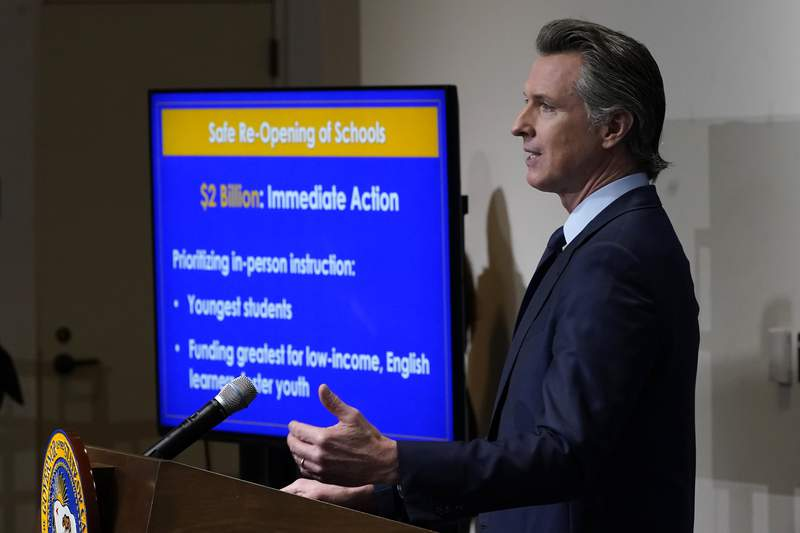 FILE - In this Jan. 8, 2021, file photo, California Gov. Gavin Newsom speaks about his 2021-2022 state budget proposal during a news conference in Sacramento, Calif. California Gov. Gavin Newsom is preparing to deliver his final budget proposal to the state Legislature. Newsom revealed his initial budget proposal in January. On Friday, May 14 he will update that proposal based on more than $100 billion in new money. (AP Photo/Rich Pedroncelli, Pool, File)