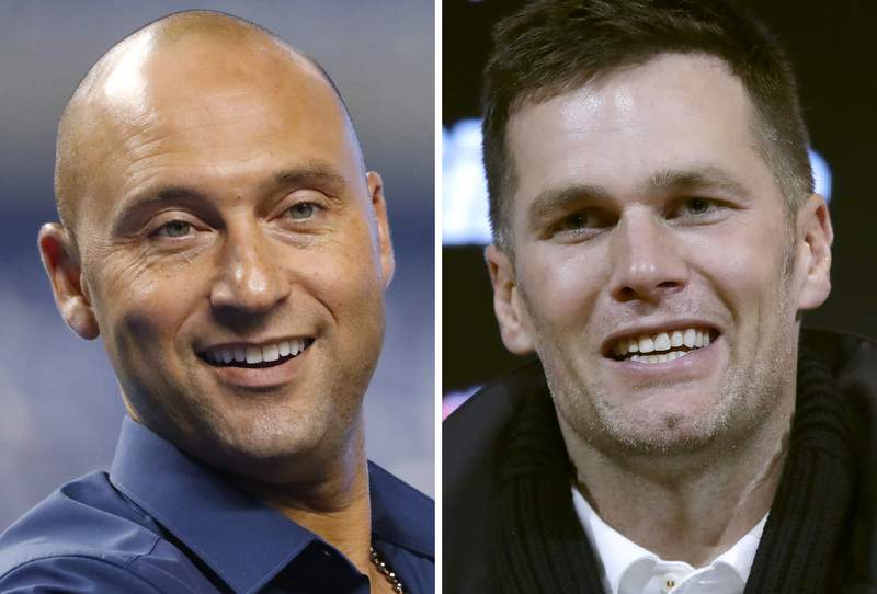 FILE - These are 2019 file photos showing Derek Jeter, left, and Tom Brady. Former New York Yankee superstar Derek Jeter has sold his waterfront mansion in Tampa for $22.5 million  meaning Tom Brady might be headed to new rental digs.   The seven-bedroom, eight-bath estate was sold on Friday, May 14, 2021, said Smith & Associates, the real estate firm that handled the transaction. Brady has been renting the mansion since April 2020. (AP Photo/File)