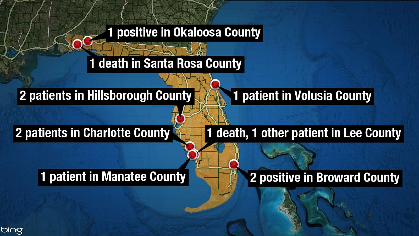 By Saturday night, the Florida Department of Health had identified 10 patients with COVID-19 and two deaths attributed to the disease.