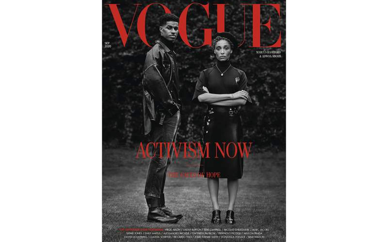 """In this image made available Thursday Aug. 6, 2020, by British Vogue magazine, showing the September 2020 issue devoted to activism, with a cover featuring two Black activists and produced by a predominantly Black team. The influential magazines cover features 22-year-old Manchester United soccer player Marcus Rashford, who successfully campaigned during coronavirus lockdown to force Britains government to grant free food vouchers to poor families, alongside model and mental health, racial justice and sustainability activist Adwoa Aboah, who has said """"Now I have hope its changing."""" They were photographed by Misan Harriman, the first black photographer tasked with shooting the magazines September issue. (Original photography by Misan Harriman/Vogue Magazine via AP)"""
