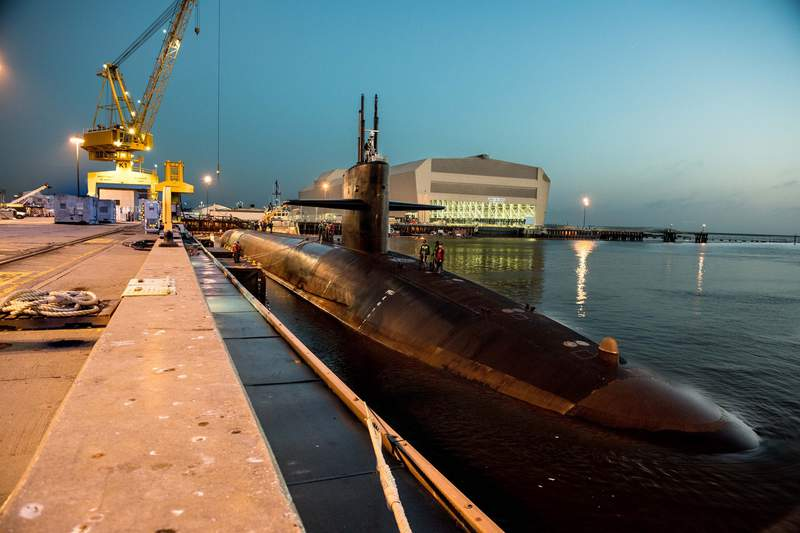 A file photo of the dry dock at Naval Submarine Base Kings Bay.