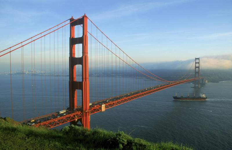 The Golden Gate Bridge in the city of San Francisco.