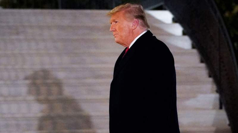 U.S. President Donald Trump walks to the White House residence after exiting Marine One upon his return on January 12, 2021 in Washington, DC. (Photo by Drew Angerer/Getty Images)