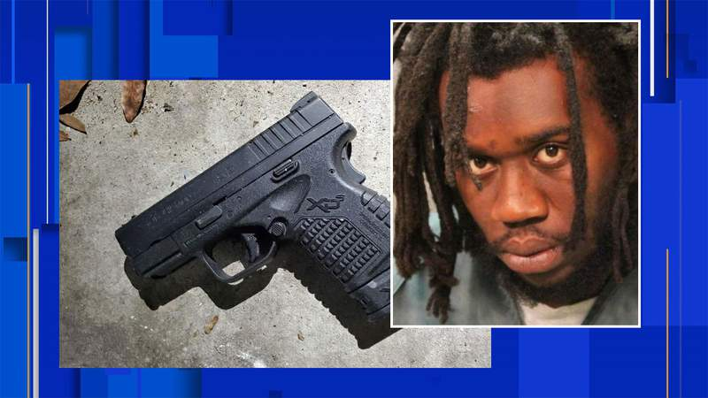 Booking photo of Kyon Wilkes and photo of gun police said was confiscated.