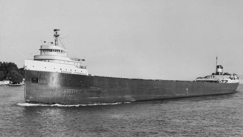 The 729-foot ore boat Edmund Fitzgerald, shown in 1972 file photo, apparently sank with all 30-35 hands on board during a storm that kicked up 25-foot waves on Lake Superior late 11/10. There apparently were no survivors according to Coast Guard Petty Officer Bob Wiard.