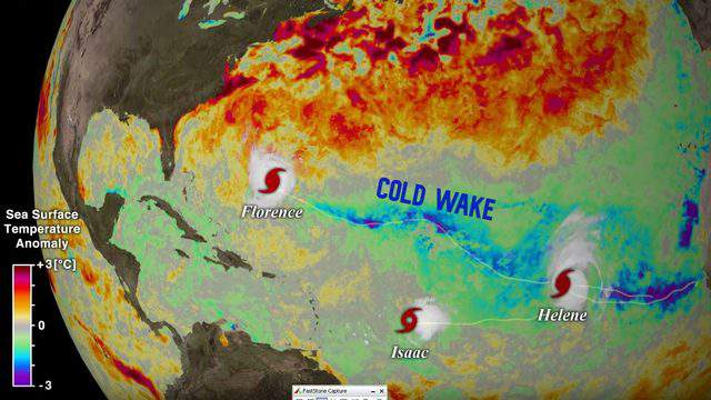 The cold wakes from 2018 Atlantic tropical cyclones are clearly observed as waters approximately 4F cooler from normal that persisted for several days.