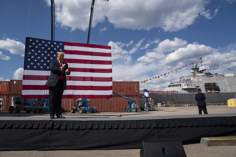 President Donald Trump arrives to speak at Fincantieri Marinette Marine, Thursday, June 25, 2020, in Marinette, Wis. (AP Photo/Evan Vucci)