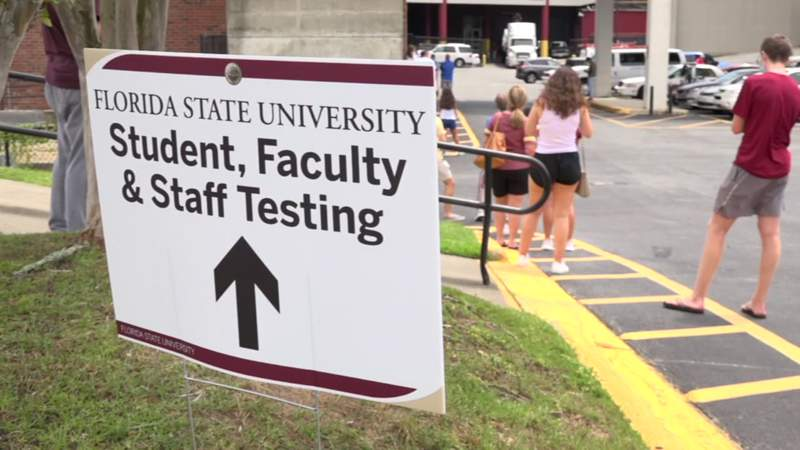 Before stepping foot in a classroom, Florida State University students living on campus have to take their first exam of the semester: a COVID-19 test.