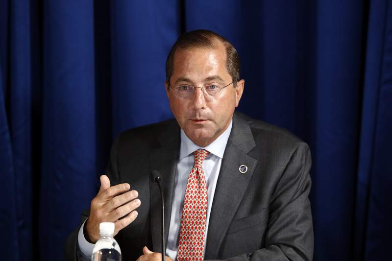 FILE - In this July 31, 2020, file photo, Health and Human Services Secretary Alex Azar speaks during a roundtable discussion. (AP Photo/Patrick Semansky, File)