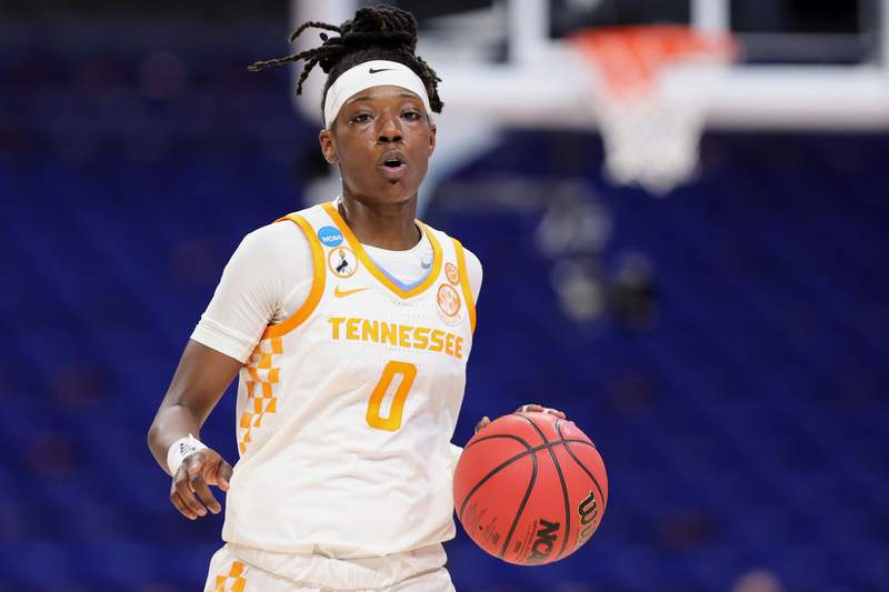 Rennia Davis of the Tennessee Lady Vols controls the ball during the second half against the Michigan Wolverines in the second round game of the 2021 NCAA Women's Basketball Tournament at the Alamodome on March 23, 2021 in San Antonio, Texas. (Photo by Carmen Mandato/Getty Images)