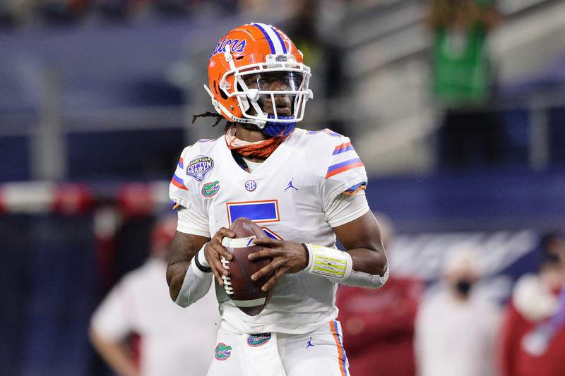 FILE - Quarterback Emory Jones #5 of the Florida Gators throws against the Oklahoma Sooners during the first half at AT&T Stadium on December 30, 2020 in Arlington, Texas. (Photo by Ronald Martinez/Getty Images)