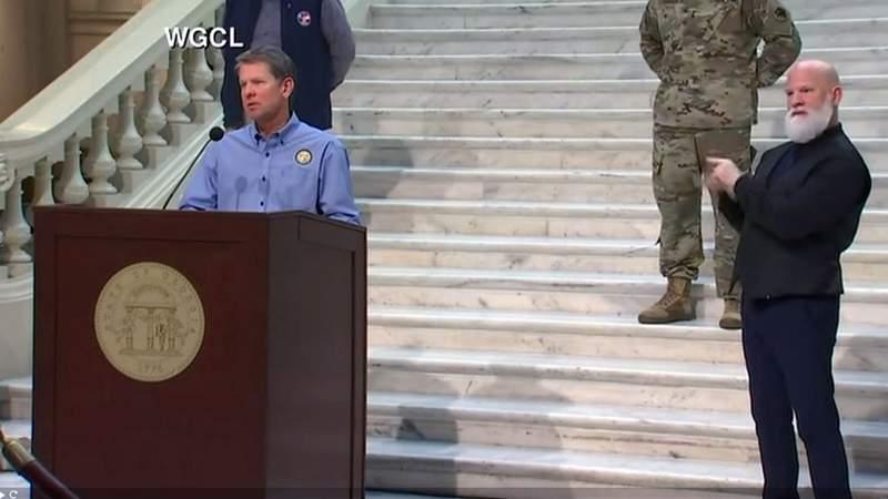 Gov. Brian Kemp speaks at the Georgia Capitol on Monday.