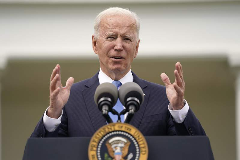 President Joe Biden speaks on updated guidance on face mask mandates and COVID-19 response, in the Rose Garden of the White House, Thursday, May 13, 2021, in Washington. (AP Photo/Evan Vucci)