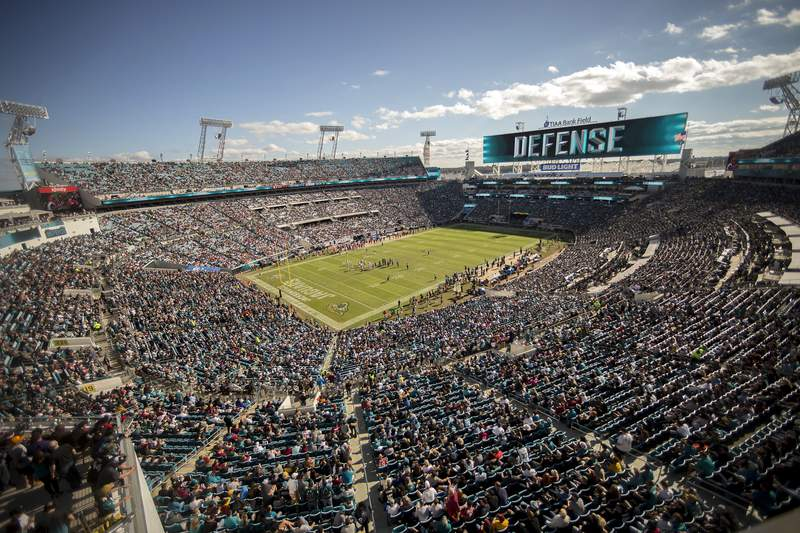 Fans watch the first half of an NFL football game between the Jacksonville Jaguars and the Washington Redskins, Sunday, Dec. 16, 2018, in Jacksonville, Fla., at TIAA Bank Field. (AP Photo/Stephen B. Morton)