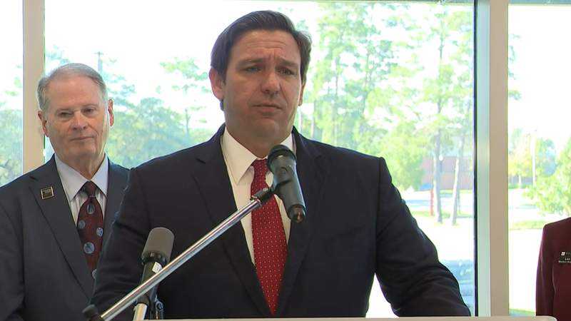 Gov. Ron DeSantis during a news conference in Niceville.