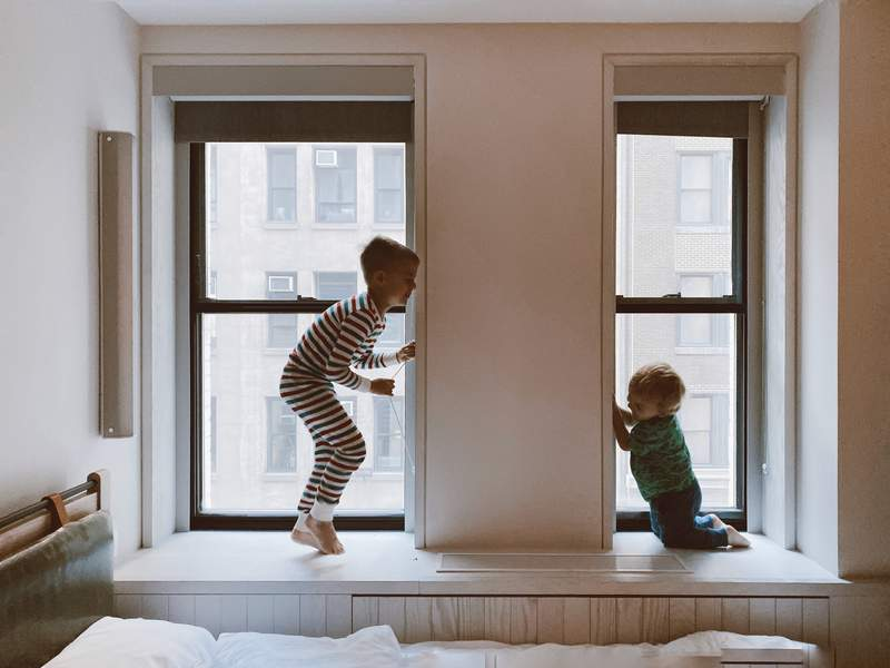 Two kids playing together.