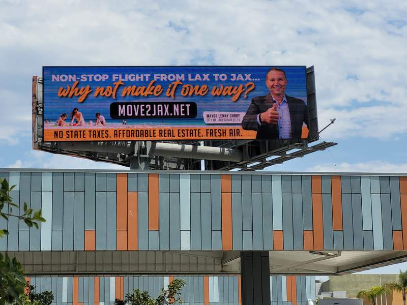Jacksonville Mayor Lenny Curry featured on a billboard in Los Angeles.