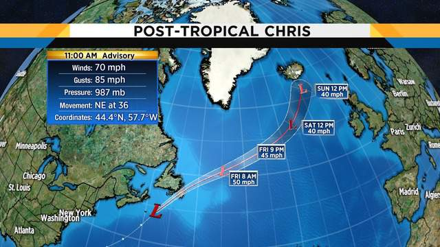 Hurricane Chris is no longer tropical becoming a north Atlantic gale Thursday.