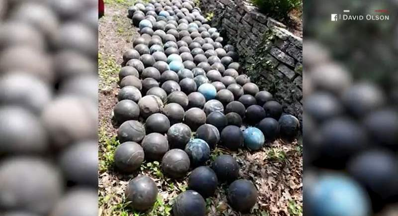 A Michigan man made a striking discovery under his house when he went to demolish his back stairs: about 160 bowling balls.