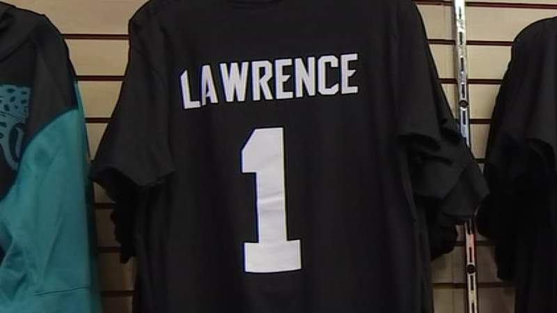 A Lawrence shirt is seen at Sports Mania in Jacksonville Beach.