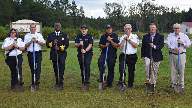 From left: Capt. Lisa Boyett, Capt. Christopher Williams, Chief Terry Smith, Firefighter Joseph Gregory, Firefighter Duante Belton, Assistant Chief Charles Lowther, Jeff Bors of Roberts Civil Engineering and Camden County District 1 Commissioner Lannie Brant.