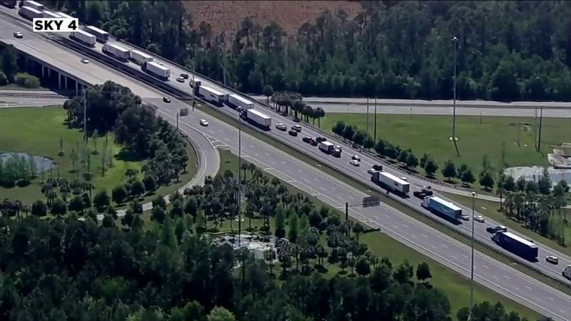 This file photo from March 29th shows the I-95 checkpoint at Florida-Georgia border