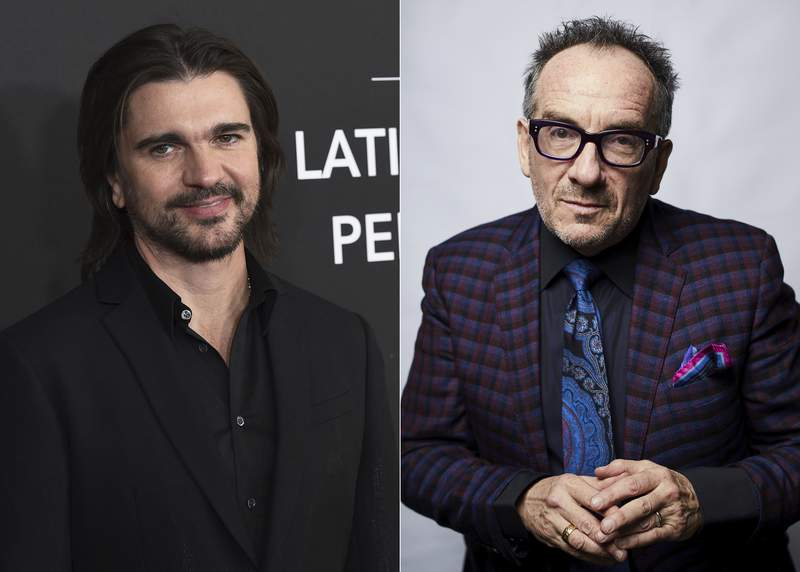 Juanes arrives at the Latin Recording Academy Person of the Year gala in Las Vegas on Nov. 13, 2019, in Las Vegas, left, and Elvis Costello poses for a portrait in New York on Sept. 17, 2018. Costello is releasing a Spanish-language version of his 1978 classic album This Years Model.' It comes out in September, but an initial version of Juanes singing Pump it Up was released as a YouTube video on Thursday. (AP Photo)