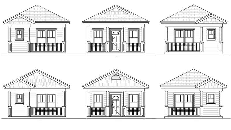Sketches of HabiJax's tiny houses.