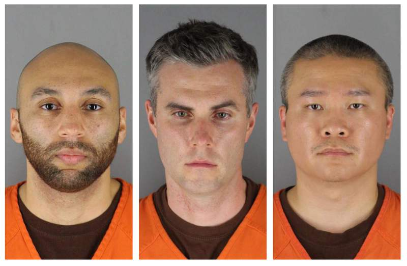 FILE - This combination of photos provided by the Hennepin County Sheriff's Office in Minnesota on Wednesday, June 3, 2020, shows from left, former Minneapolis police Officers J. Alexander Kueng, Thomas Lane and Tou Thao. Attorneys for the state and for the three former officers charged in the death of George Floyd are making oral arguments Thursday, May 20, 2021, before the Minnesota Court of Appeals. (Hennepin County Sheriff's Office via AP File)